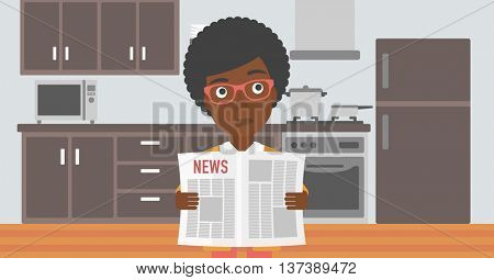 An african-american woman reading the newspaper on the background of kitchen vector flat design illustration. Horizontal layout.