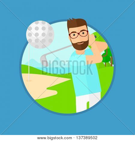 A hipster golfer with the beard hitting the ball. Professional golfer on golf course. Young man playing golf. Vector flat design illustration in the circle isolated on background.
