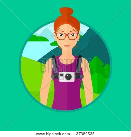 Young woman with a digital camera on her chest. Tourist with a digital camera standing on the background of mountains and lake. Vector flat design illustration in the circle isolated on background.