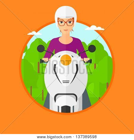 Woman riding a scooter on the asphalt road on the background of forest. Young woman in helmet driving a scooter. Vector flat design illustration in the circle isolated on background..