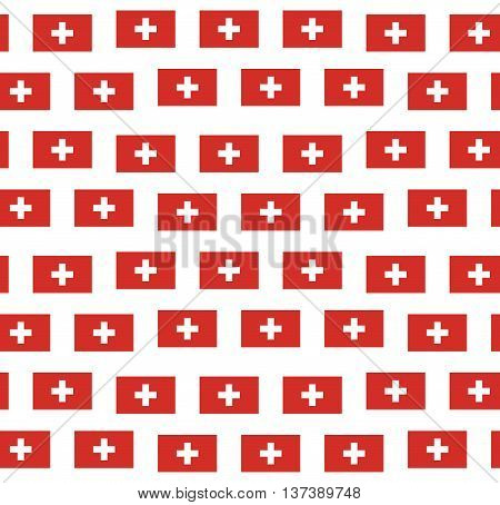Seamless pattern with swiss flag on white background.