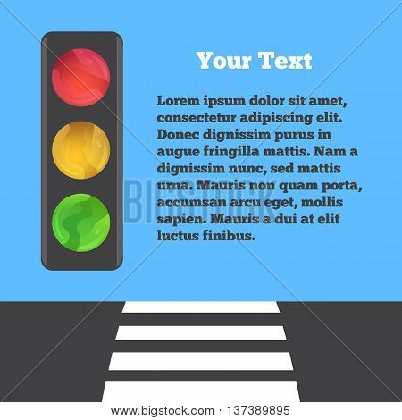 Bright vector image of traffic light on blue background. Place for text.