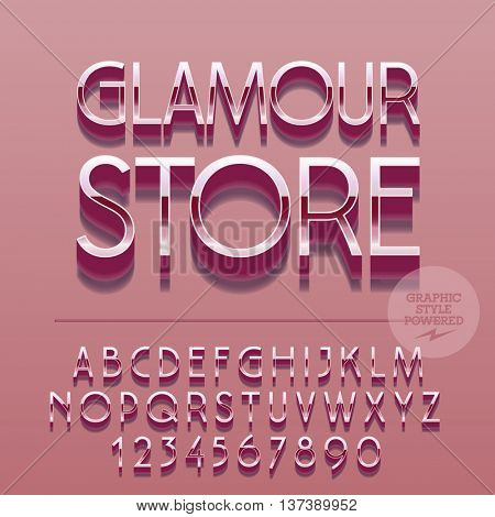 Set of slim reflective alphabet letters, numbers and punctuation symbols. Vector glance sign with text Glamour store. File contains graphic styles