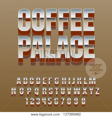 Set of slim reflective alphabet letters, numbers and punctuation symbols. Vector glance logotype with text Coffee palace. File contains graphic styles