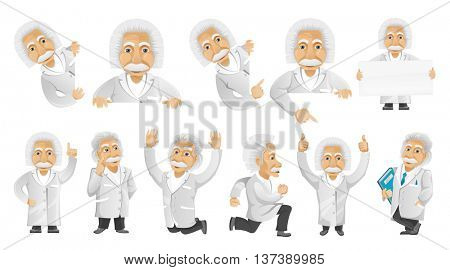 Set of illustrations with friendly old man posing with white blank placard. Old man showing finger up, jumping, giving thumbs up, running, jumping. Vector illustration isolated on white background.