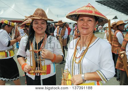 SIPITANG SABAH MALAYSIA - August 30 2014 : A group of Lundayeh in their traditional costume during folklore festival call GaTa festival in Sipitang Sabah Malaysia. Lundayeh tribe is one of Sabah ethnic mostly reside in the interior.