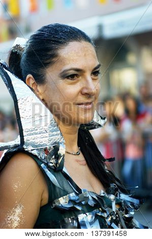 Montenegro, Herceg Novi - 04/06/2016:  Woman in fancy dress star warrior. 10 International Children's Carnival