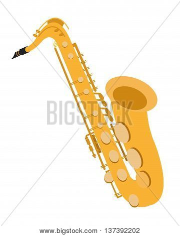 flat design detailed saxophone icon vector illustration