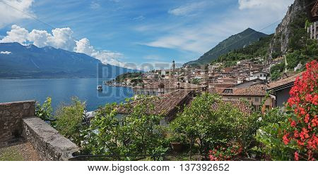 View To Limone Sul Garda From Lookout Saint Martins Chapel