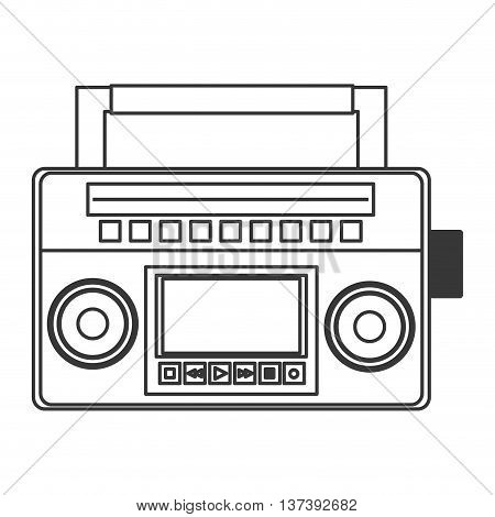 flat design classic boom box icon vector illustration