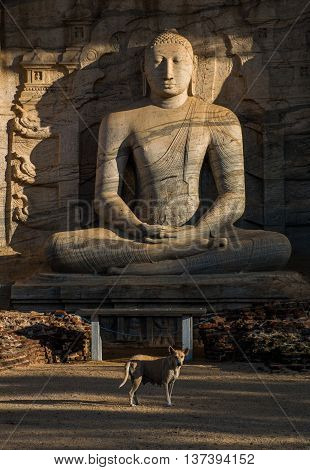Ancient City of Polonnaruwa, seated Buddha in meditation at Gal Vihara Rock Temple (Gal Viharaya), UNESCO World Heritage Site, Sri Lanka, Asia