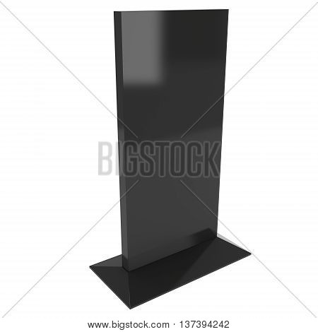 LCD Screen Stand. Blank Trade Show Booth. 3d render of lcd screen isolated on white background. Ad template for your expo design.