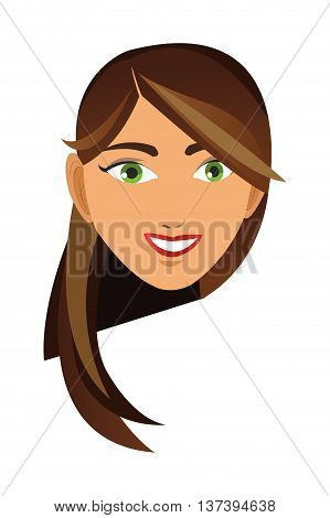 flat design face of brunette woman icon vector illustration