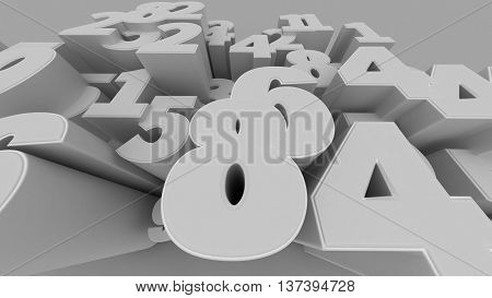 Abstract 3D numbers background computer generated render.