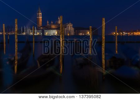 Streetlight on the background of the Church of San Giorgio Maggiore - Venice Italy