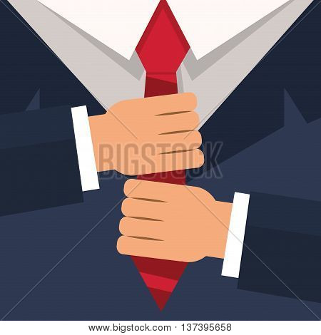 flat design man putting necktie on icon vector illustration