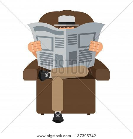 flat design man reading newspaper sitting on chair icon vector illustration