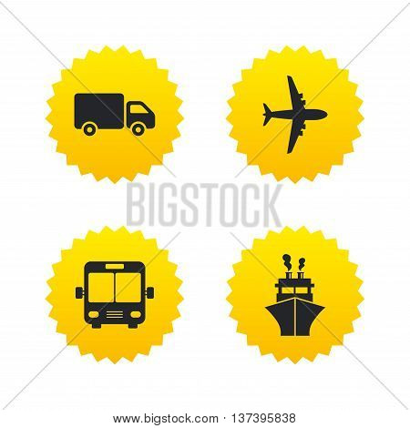 Transport icons. Truck, Airplane, Public bus and Ship signs. Shipping delivery symbol. Air mail delivery sign. Yellow stars labels with flat icons. Vector