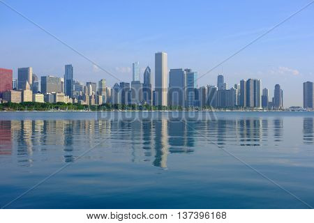 Chicago skyline in the morning. No brand names or copyright objects.