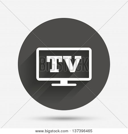 Widescreen TV sign icon. Television set symbol. Circle flat button with shadow. Vector