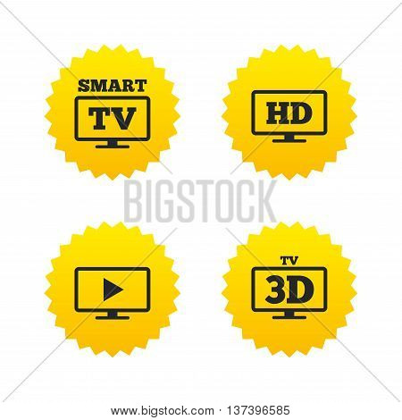 Smart TV mode icon. Widescreen symbol. High-definition resolution. 3D Television sign. Yellow stars labels with flat icons. Vector