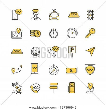 Taxi vector icons set for your design