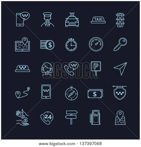 Taxi vector icons set on a black background for your design