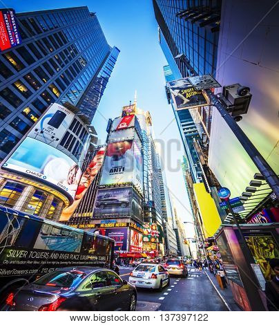NEW YORK CITY - APRIL 21: Times Square, featured with Broadway Theaters and animated LED signs, is a symbol of New York City and the United States, April 21, 2016 in Manhattan, New York City. USA.