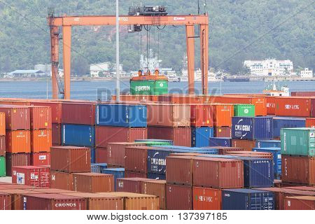 Kota Kinabalu Sabah Malaysia - Feb 15 2016:Container handling at Sabah Port Sapanggar Port pictured on Feb 15 2016.Sapanggar Port is a major container hub for Borneo.