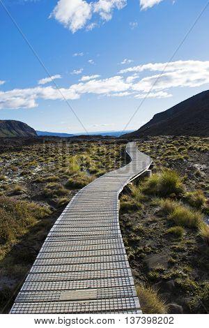 Boardwalk through Tongariro National Park, New Zealand