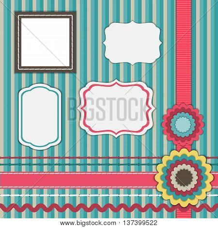 Set for scrapbooking frames ,ribbons, flowers, elements for design