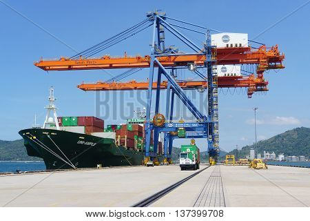 Kota Kinabalu Sabah Malaysia - Feb 15 2016:Container ship docking at Sabah Port Sapanggar Port pictured on Feb 15 2016.Sapanggar Port is a major container hub for Borneo.