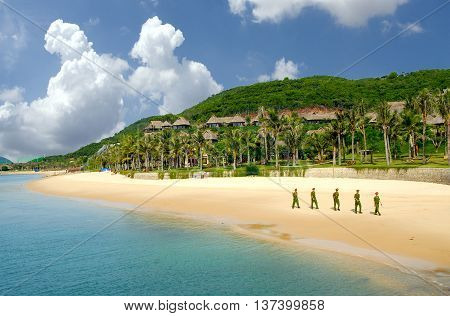 Khanh Hoa, Vietnam, March 14, 2016 Vietnam marine police, patrol the sea islands, central Vietnam