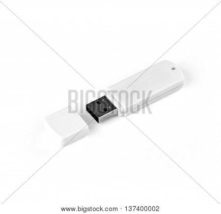 White usb flash drive on a white background