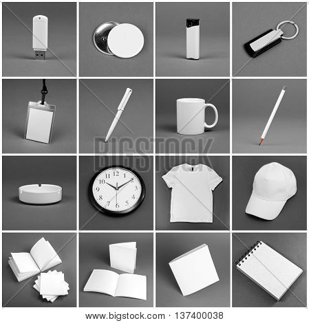 Set of white elements for corporate identity design on a grey background