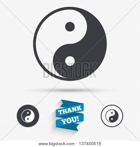 Ying yang sign icon. Harmony and balance symbol. Flat icons. Buttons with icons. Thank you ribbon. Vector