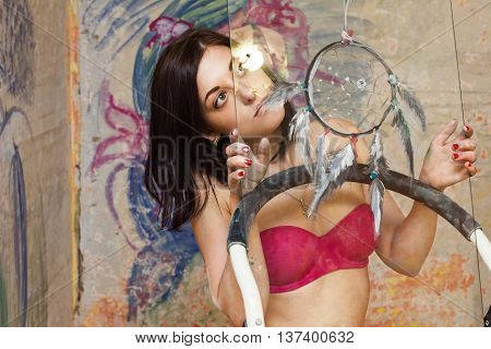 Beautiful Girl Art With A Painted Dream Catcher