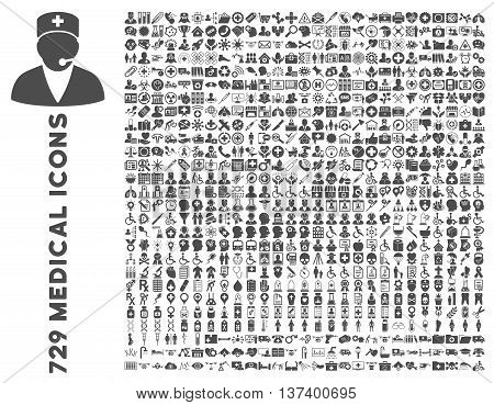 Medical Icon Clipart with 729 vector pictograms. Style is gray flat symbols isolated on a white background.