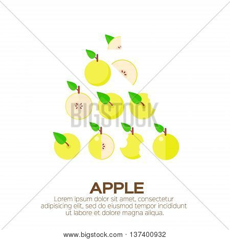 Summer set of yellow Apple. Whole and cut half healthy apple fruits. Vector illustration