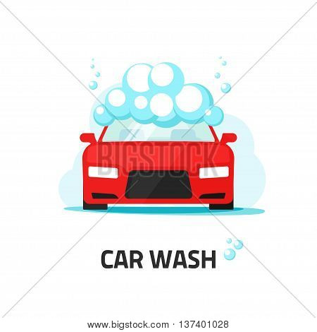 Car wash service label vector illustration, auto washing with shampoo foam bubbles, automobile cleaning center logo concept, water cloud, flat icon modern design isolated on white background