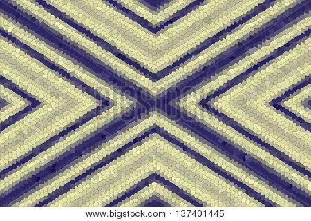 Illustration of a dark blue and vanilla colored mosaic cross