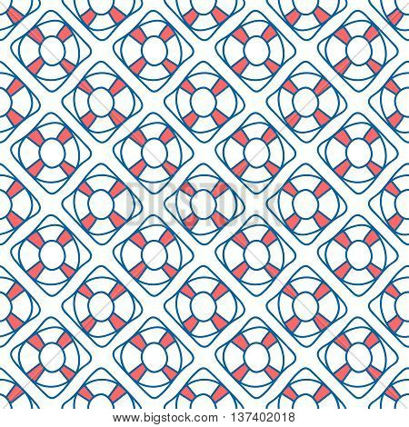 Seamless sea background. Hand drawn blue and white pattern. Suitable for fabric, greeting card, advertisement, wrapping. Bright and colorful lifebuoy seamless pattern