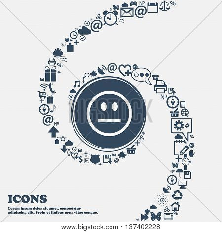 Sad Face, Sadness Depression Icon Sign In The Center. Around The Many Beautiful Symbols Twisted In A