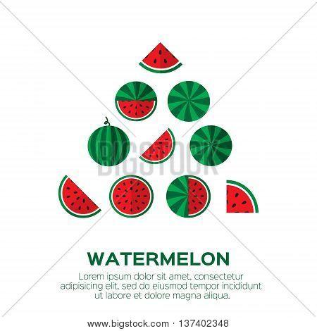 Summer set of fresh ripe watermelon. Single watermelon half a watermelon a slice of watermelon. Red Watermelon concept vector illustration