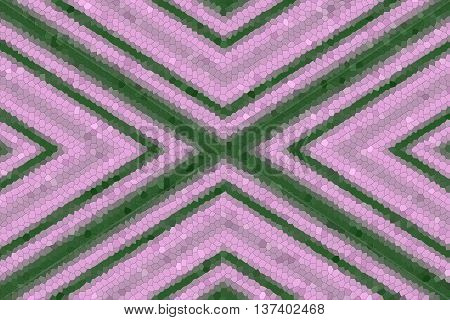 Illustration of a pink and dark green mosaic cross