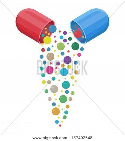 capsule pharmaceutical with vitamins and minerals inside, Pill and care healthy, healthcare. vector illustration in flat style isolated on white background