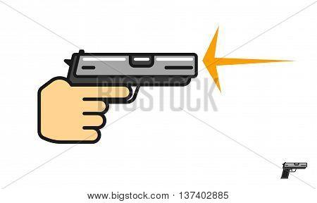 Hand holding gun shooting vector illustration, shot flash, shooting range logo, pistol flat icon, linear symbol, outline label modern design isolated on white