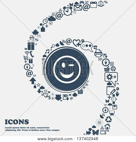 Winking Face Icon Sign In The Center. Around The Many Beautiful Symbols Twisted In A Spiral. You Can