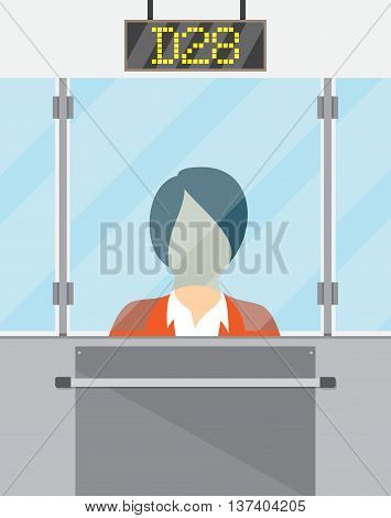 teller behind the window. concept of people service and payment. vector illustration in flat style