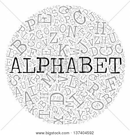 Alphabet circle theme with letter pattern on the background. Grey vector letters with highlighted word Alphabet in typewriter font on white background.